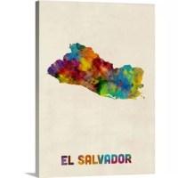 Contemporary watercolor map of the country El Salvador.