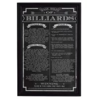 A simple yet elegant way to dress up your game space is with framed Billiard Rules and Regulations. Easy to hang and clean. These official Billiard game rules come in a stylish black frame, certain to add a bit of class to your room. Functional wall art that provides the proper rules of game play and appropriate scoring methods. Instantly eliminates any uncertainty of how the game should be played or scored.