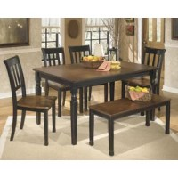 Be it a festive family feast, an upscale dinner party, or Sunday afternoon scrap-booking, this 2 Piece Dining Set is happy to sit at the center of it all. It offers a traditional frame crafted from veneers and manufactured wood with a two-tone burnished brown and black finish. It is founded atop four legs, which stand out with turned details and a tapered silhouette. Fits up to six side chairs.