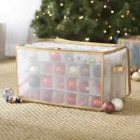 Just because you're not decking the halls doesn't mean your holiday essentials shouldn't be stowed in festive fashion! Keep ornaments safely tucked away in style with this organizer box. Crafted from polypropylene, the frame features a dotted pattern with matching trim and a handy zippered top to keep items in their place. Cardboard dividers offer space for up to 112 pieces, but they're not a hassle to carry thanks to two built-in handles for easy transport.