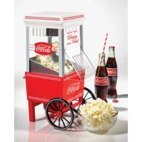 Make anyone look twice! Featuring the Coca-Cola logo and design elements is a table-top sized party pleaser. In just minutes, family and friends can enjoy the fresh taste of crunchy, delicious popcorn! Its electric popping system uses hot air instead of oil, producing a   light and healthy snack. The unit comes with a measuring cap that assures the proper amount of kernels are used in each batch. Enjoy the fresh taste of hot popcorn in minutes!