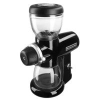 Grind your coffee beans just how you like with the KitchenAid® Burr Coffee Grinder. This grinder features 15 grind levels for french press, pour over, drip coffee, espresso and anything in between and the glass bean hopper holds up to 7 ounces of beans.