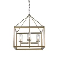 Be it an entryway in need of a little illumination or a kitchen island searching for some shine, this lantern is the perfect pick. Crafted from metal, it showcases an open, clean-lined frame for a touch of modern style, while a metallic finish lends a touch of something more traditional. Inside, it features four candelabra lights that each accommodates one 60 W E12 lightbulb (not included). Plus, this piece is compatible with a dimmer switch for adjustable ambiance and can even be installed on...