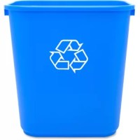 Recycling wastebasket offers a low-profile design with the universal recycle logo. Ideal for classroom, office, commercial and institutional use. Wastebasket holds 28.5 quarts.