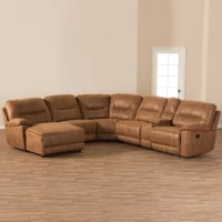 Relax in total comfort with this 6-piece sectional with recliners corner lounge suite. Constructed of plywood frame, this 6-piece sectional with recliners will provide you and your family a good gathering spot and a total relaxation. Upholstered in light brown palomino suede, the seat of the set is foam filled and cushioned with pocket spring for ultimate comfort while the back is filled with fiber for extra softness. To ease every day's use, the left arm facing chair is...