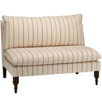 Complete your living room or den ensemble with this 50'' W loveseat, perfect for seating guests for drinks, or lounging on your own with a Sunday-morning cappuccino. It's made in the USA, and built on a solid pine wood frame with two turned front legs for traditional appeal. This loveseat showcases an armless design, and is topped with one back cushion and one seat cushion with foam and polyester fill. Its upholstered in a cotton linen blend, and features a two-toned stripe look for some French...