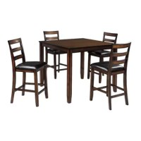 This counter table set raises the bar on how beautiful simplicity can be. A wonderfully clean-lined profile is dramatically enriched with a complex, burnished finish loaded with tonal variation and rustically refined character. Cushioned bar stools in a practical faux leather take a classic ladder-back design to a new level of comfort.