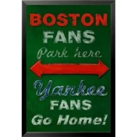 'Boston Fans Park Here-Yankee Fans Go Home Poster' by Robert Downs Framed Graphic Art boston Red sox new york yankees rivalry baseball vintage advertisement sports poster. This professionally framed print is great for any room in your home or office.