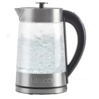 The Nesco® 1.8-liter electric glass water kettle boils faster than a microwave and uses about half the energy of a stovetop. Its 1500 watts enables it to quickly heat water for instant coffee and soups, tea or hot cocoa, rice or pasta, blanching vegetables, instant oatmeal or gelatin. The kettle detaches from the base for ease in serving, and the removable lid is great for easy filling and cleaning. The concealed heating element is contained in the stainless steel base, and there is even a...