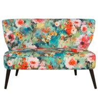 Classic yet comfortable this settee will appease your seating needs. Upholstered in trendy upholstery, this settee boasts plush foam padding and delicately turned legs. Great for your seating area or living room.