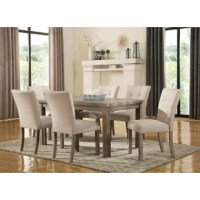 This 7 piece dining set includes a four-leg table with 6  side chairs with cushioned seats and backs. Shown in a weathered gray finish and the contemporary styling accented by the button tufted covered chairs.