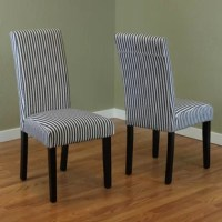 Put a pop of personality into any dining ensemble or seating group with this versatile Parsons chair, showcasing a two-toned pattern of vertical pinstripes. Founded atop four espresso-finished legs, this piece is made with solid poplar and manufactured wood frame to support up to 250 lbs. A foam fill and linen fabric envelop the upholstered seat for a bit of cushioning, completing the clean-lined look with inviting appeal. Some assembly is required.