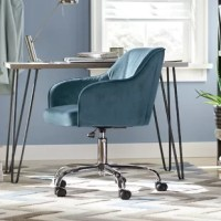 Whether you're working from home or simply scrawling out shopping lists, you can upgrade your desk space in only a second with this rolling chair. Founded atop a five wheel castered base for easy mobility, its adjustable frame is crafted of chrome-finished metal and manufactured wood. Up top, the seat is padded with foam and wrapped in velvet upholstery with a neutral solid hue for a versatile look that works well in both classic and contemporary aesthetics.
