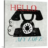 Contemporary artwork of a telephone surrounded by text, with an overall rustic and weather looking texture.