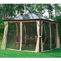 Add elegance and humph to your backyard with hardtop deluxe garden gazebos. Gazebos are an ideal addition to your outdoor space that provides an area where you can bring the comfort of the indoors, outside. They are built strong and practically featuring center light hooks and mosquito netting to continually keep you comfortable throughout mornings, evenings and nights.