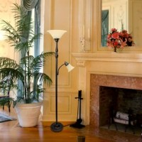 Light up your bedroom, office, foyer, or living room with this elegant two-light torchiere floor lamp. Crafted of iron, this charming design features a turned column post body on a round pedestal base. On top, a marble-frosted glass inverted bell shade casts light upward from a 100 W incandescent bulb while a gooseneck arm adjusts a smaller, matching 60 W reading lamp to shine light where it's needed most.