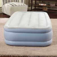 The Air Mattress by Beautyrest lets you sleep comfortably. This express bed has a built-in edge support that helps in creating a stable surface for you to sleep. The bed comes with a sturdy, nylon duffel bag for convenient, compact storage.   This express bed features a one touch adjustable comfort patented valve. The seam of the mattress has been designed using high-quality, puncture-resistant vinyl that enhances the product's durability. It has a velveteen reinforced top and raised channel...