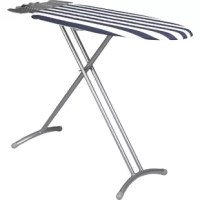 The Laundry Solutions compact Freestanding ironing board is your ideal space saving solution. Its thick steel legs allow for exceptional stability. The large iron rest feature holds appliance securely and provides extra hanger space. The board also comes with an ultra-thick foam pad with cover. It also comes with the easy to use height adjustment paddle with a leg locking device.