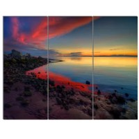 Bring contemporary abstraction to your home with this metal wall art. This 'Blasts of Color at the Sunset' 3 Piece Photographic Print on Canvas Set makes it the focal point of any room or office.