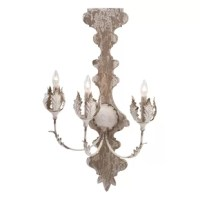 Highlight your home with this metal three light wall sconce sporting shabby elegance styling and a weathered white finish.