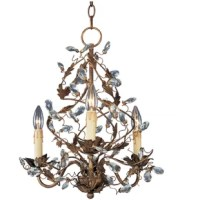 Bold, beautiful and wildly glamorous, this Mini Chandelier blends gorgeous style with whimsical, natural flair. A shimmering Etruscan gold finish is given new life with twisting, winding vines of delicate leaves and glittering crystals. This magnificent fixture will instantly transform any space, bringing the utmost in luxury, style and vivid beauty to any room of your home.