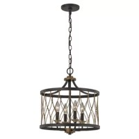 When it comes to overhead lighting, pendant lights are a fan favorite – and for good reason. They don't take up prime real estate, they offer options for up and downlighting, they work well solo and in clusters, and they come in an endless amount of styles! Take this four-light pendant, for instance: an oil-rubbed bronze finish adds a modern farmhouse look to this open-caged woven drum design. Ideal for a dining nook or entryway, this four-light pendant provides a glowing presence.