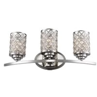 Add a splash of shimmer to your powder room with this chic three-light vanity light. Crafted of metal, this fixture features an oval backplate and a curved horizontal rod in a polished chrome finish for a sleek, contemporary look. Its cylindrical shades showcase crisscross openwork adorned with hanging crystal drops for a glint of glamour. Spanning 23.5