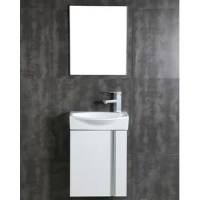This unique, wall hung space-saving vanity is made of plywood, adorned with brushed aluminum handles and fitted with a grade AAA vitreous china sink. Choose a white, black walnut or gray taupe color finished with a melamine finish  for strong water-resistant. The mirror is framed with brushed aluminum.