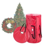 Clean up after the holidays are a snap with the Deluxe Red Christmas Tree Bag and Supreme Fabric Christmas Wreath Bag from The Holiday Aisle. A must-have after the holiday season, an The Holiday Aisle Christmas tree bag and Supreme Fabric Christmas Wreath Bag will store your tree and wreath away neatly, effortlessly, and make for quick set-up next year. It's as easy as placing your artificial Christmas tree and wreath in the bag, zip it up and safely store it away until next year. You will have...