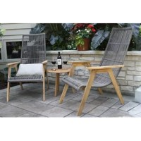 Why not welcome a little California coastal charm into your backyard with this 3-piece teak patio bistro set? It includes two gray resin wicker lounge chairs with a half-round weave, and a solid teak wood bistro table. All this outdoor furniture has teak wood frames in a natural wood grain finish that will weather to a classic gray patina over time. Plus, this blend of teak wood and resin wicker stands up to sunny and wet weather without fading, rusting, or molding. This seating set comes with...