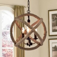 Take your contemporary decor to a stunning level with this chandelier hanging in your dining room or entryway. This indoor metal Chandelier Light features a hemp rope wrapped around metal sparkling with a high-polish finish while offering your home a soft glow from 3 bulbs.