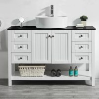 Finalize your bathroom remodel in style with this 48'' W Single Bathroom Vanity Set. Crafted from laminated solid wood and finished in a neutral solid hue, this piece showcases beadboard trim, perfect for coastal aesthetics. A tempered glass countertop rounds out the piece, and it's topped off with one white ceramic vessel sink for eye-catching appeal. When it comes to storage, this vanity is equipped with four drawers and one cabinet.