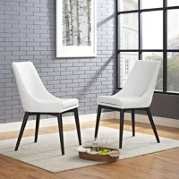 Bring sleek style to your dining arrangement with this chair. It stands atop tapered legs – the back two of which are splayed – for a mid-century modern look, while the armless seat features a high back for comfort. Crafted from solid and manufactured wood, the frame is wrapped in faux leather upholstery. A foam-filled cushion completes the aesthetic as it offers you and your guests a place to kick back during dinner.