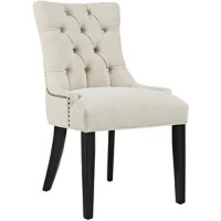From providing sensible seating arrangements in smaller spaces to rounding out interior designs, accent chairs make all-star additions to any home decor arsenal. Perfect for desks, dining rooms, or sitting areas, this upholstered side chair strikes a traditional silhouette. Crafted from a solid wood base and upholstered in polyester fabric with button tufting, its perfect for classic ensembles in need of stylish extra seating.