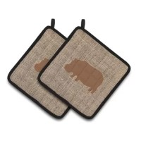 A pair of pot holders to match your kitchen decor. Full color artwork decorates the front polyester fabric of the hot pad and accented by a black trim. These colorful pot holders will make a great gift for your favorite home cook or executive chef.