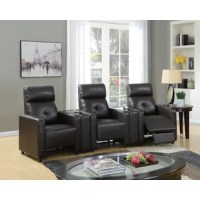 This home theater set is constructed with espresso PU. This modern collection features tight back and seat cushion, with a contemporary style design and convenience cup holder console, fits every living room.