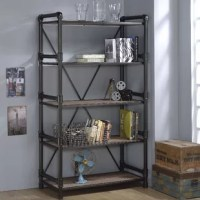 Bring ideal casual style to your home with Derek Etagere Bookcase. Derek Etagere Bookcase features mix media industrial style incorporating wood and black metal pipes in a rustic oak finish. Lend an elegant touch to your living room, library, home office or workspace.