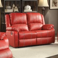 Combining luxurious faux leather with the comfort of padded, reclining seating, this collection is a wonderful choice for any family room. Red PU is supple, soft to the touch and durable while the loveseat's chaise footrests offer full leg support. Comfortable contoured seats.