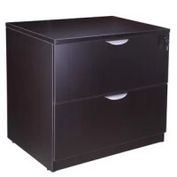 The two drawer locking lateral file comes fully assembled and can be used either free standing or under a desk shell. The floor glides allow for application where the flooring may not be perfectly level.