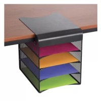 Organize your office with this powered hanging desktop organizer. Aids in office supplies organization and file storage. Four horizontal letter trays for additional storage of notebooks and folders. Features a hanging plate that lays flush on the desktop.