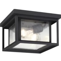 Perfect for your covered porch, patio, or deck, this minimalist two-light outdoor flush mount adds a touch of industrial flair to the exterior of your home. Inspired by utilitarian lights found in urban warehouses and structures, this light features a clean-lined rectangular frame with five seeded glass panels, while an outer, glassless frame protects the piece against debris in the wind. Crafted from metal, this weather-resistant design is available in a variety of finishes to suit your style...