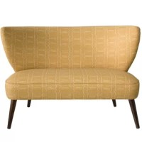 This settee is a great addition to any room. Classic in style, this settee is upholstered in a modern geometric. Handcrafted in Illinois with plush foam for added comfort. Spot clean only.