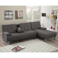 Lounge in style with this retro-styled adjustable sofa and chaise. This low profile piece features tightly upholstered fabric with accent tufting and short silver finished leg supports. It also has a cup holder for extra functionality.