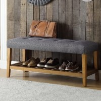 Simplistic lines pulling from the craftsman era and tapered legs to add some style, this Warwickshire Wood Storage Bench with button tufted full box seat can easily compliment any home styling décor. The added width of the bottom slats serves as a function shelf.