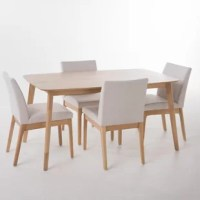 Tunis 5 Piece Dining Set with Straight Table Legs