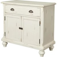 Clutter wreaking havoc in your home? Don't throw in the towel, that creates more laundry. Pick up this Accent Cabinet instead. Crafted from manufactured wood, this piece is perched atop four bun feet with turned detailing, giving it a classic touch. A pair of stylized shell cup pulls provide easy access to the top drawer while below, matching plank-effect grooved doors open to reveal a single shelf for tidy interior storage.