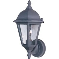 Illuminate your patio or porch in traditional style with this one-light outdoor sconce. Crafted of die-cast aluminum in a fashionable finish, this fixture features raised round backplate accented by tasteful moldings and decorative screw caps. The lantern features a hexagonal frame capped with a dome roof and a turned finial, while six panes of clear glass encase one 100 W incandesced A19 medium base bulb (included) to diffuse bright light as it's dispersed throughout your space.