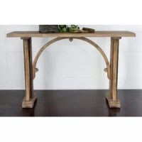 With its trestle base and sun bleach finish, the Genesis Console Table brings traditional style to any corner of your well-appointed home. Add it to the den to complement a cozy lodge-chic arrangement or use it to round out a rustic living room look. Top it off with a bowl of faux fruit for a natural accent then round out the ensemble with an abstract canvas print for a dynamic display. Its open design adds a breezy touch to any corner while its natural hues blend effortlessly into any color...