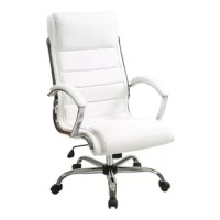 Bring chic executive style and essential comfort to your home office with this sleek desk chair, the perfect accent for livening up your space. Wrapped in white faux leather upholstery, this design is brimming with contemporary style. The sleek design and chromed base give this chair its alluring appeal, but it is more than just stylish. It also features a padded seat, cushioned headrest, contoured lumbar support, and smooth tilting mechanism for essential comfort. Pull this chair up to a...