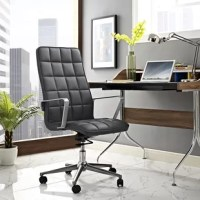 Cushion your progress with the Tile High-Back Desk Chair. Steadily advance through the day with a finely upholstered boxed seat pattern and sleek brushed aluminum armrests sure to impress. Tile comes with a padded waterfall seat, polished steel base with five dual-wheel casters for easy movement over hardwood or carpeted surfaces, full 360-degree swivel, tilt tension control knob, and pneumatic height adjustment. Perfect for the modern home or office workspaces.